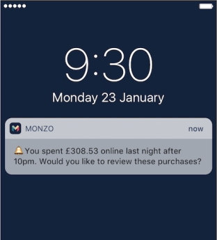 a monzo instant notification on an iOS device