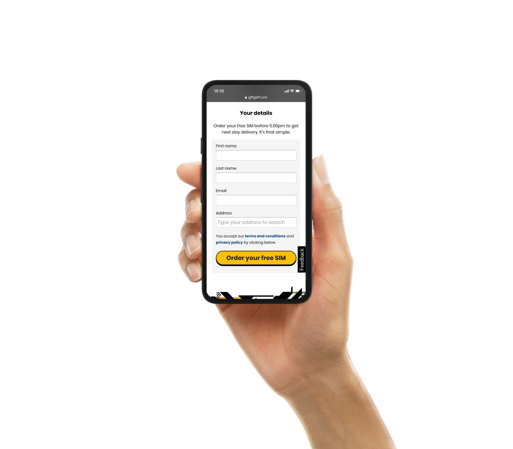 A mobile phone in a hand with the giffgaff your details website on it