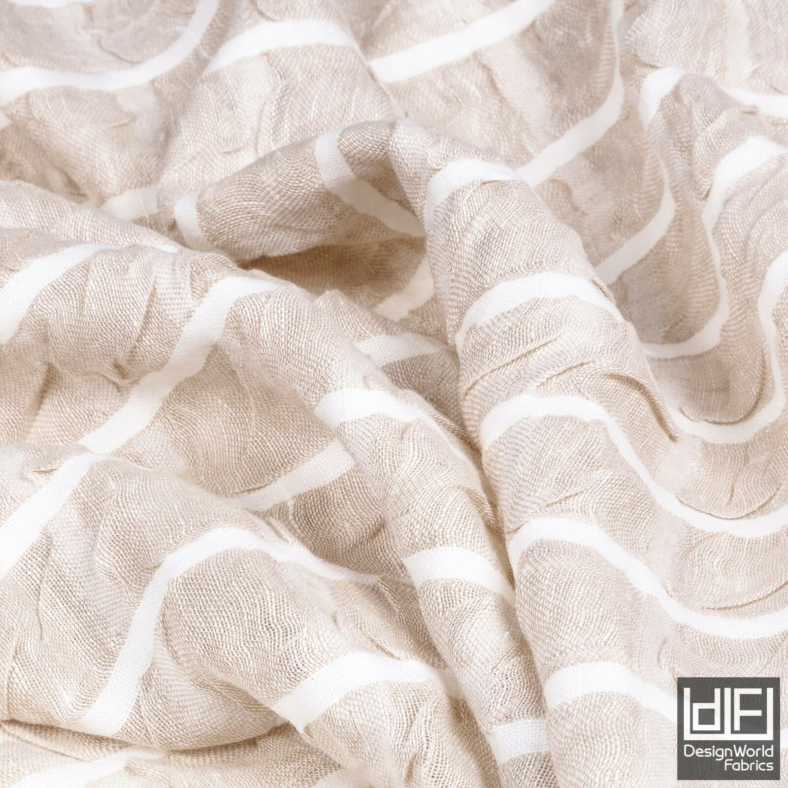 designer crushed linen voile check stripe off white beige curtain fabric 3m wide