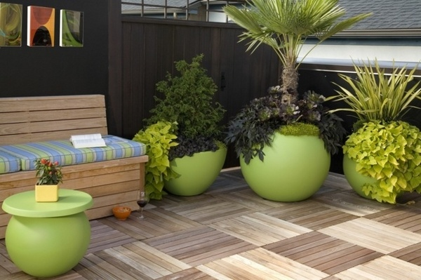 planters-ideas-wooden-floor-green-flower-pots-attractive-balcony