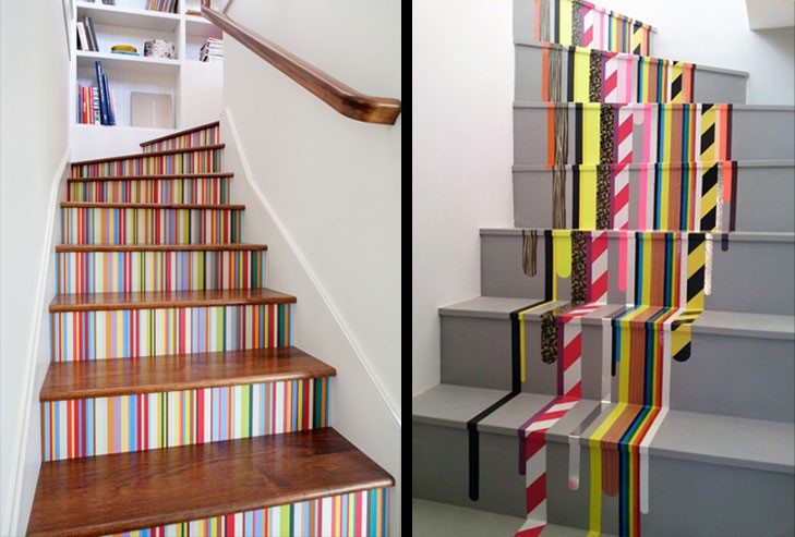 Stair decoration ideas-washi tape look