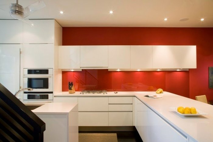 modern kitchen with white acrylic kitchen cabinets