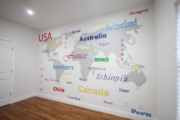 world map wallpaper basement wall