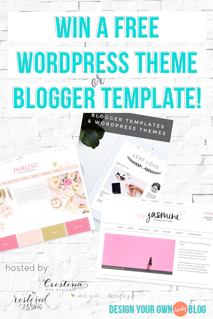 Win a free WordPress theme or Blogger template! Part of the 7 days of giveaways for the DYOB redesign party!