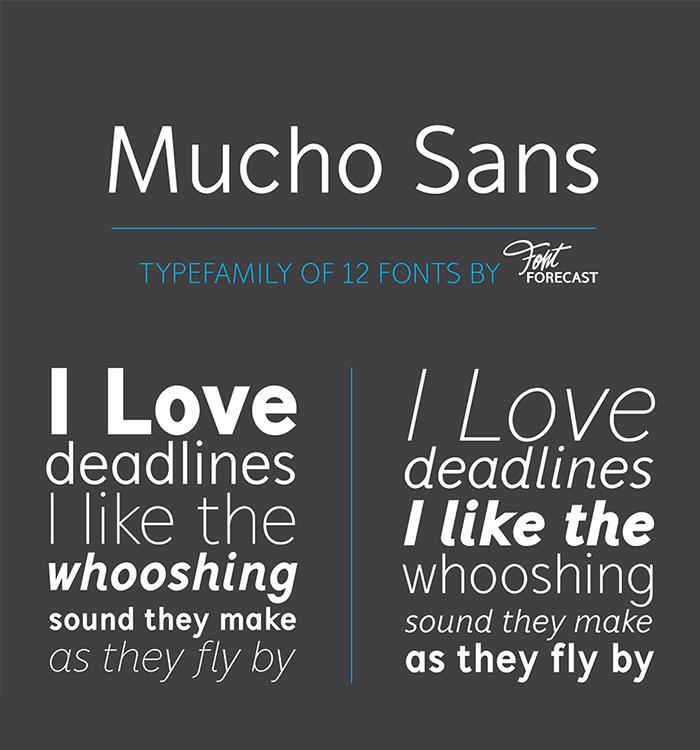 Typographer's Dream Bundle includes 33 fonts for $29, save 99%! Includes this geometric sans serif font, Mucho Sans.