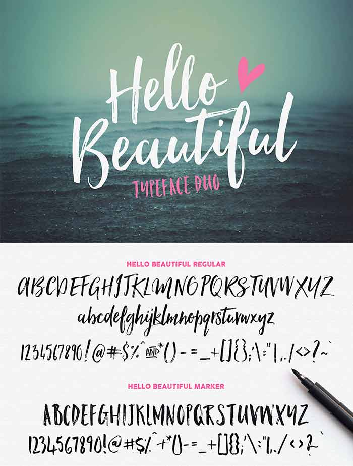 Hello Beautiful Font Duo + Swashes from Nicky Laatz is 1 of 20 professional fonts you can get for just $29!