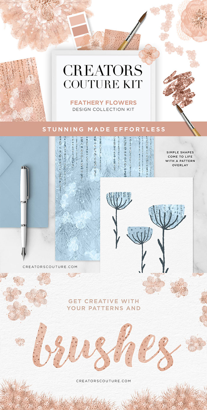 Hand Drawn Design Trend in the Digital Designer's Artistic Toolkit. Feathery Flowers Couture Design Kit from Creators Couture. Find more on www.DesignYourOwnBlog.com
