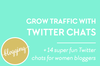How to grow traffic to your blog with Twitter chats for women bloggers. Plus 14 super fun Twitter chats for women bloggers. See more traffic-building solutions at www.DesignYourOwnBlog.com