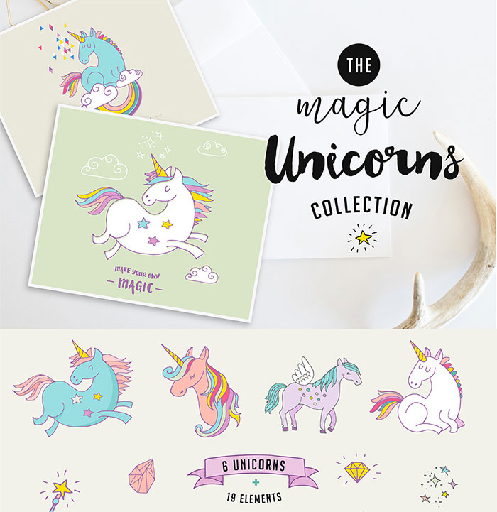 Hand-crafted illustrations bundle! TONS of Watercolor designs included like these ridiculously cute magic unicorns watercolor graphics. Full licensing included. Grab yours before it's gone! unicorn hand-drawn illustrated cartoon characters