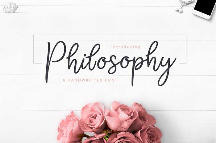 Philosophy by Siwox/CoreLine Type, a beautiful calligraphy script font. One of the font types I recommend for feminine designs in this roundup of 9 feminine font trends for 2016.