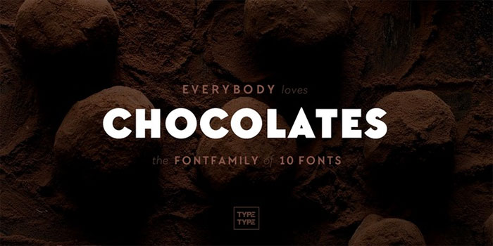 TT Chocolates by TypeType, a Geometric sans serif font with thin to black weights. One of the Geometric or Grotesque fonts I recommend for feminine designs in this roundup of feminine font trends for 2016.