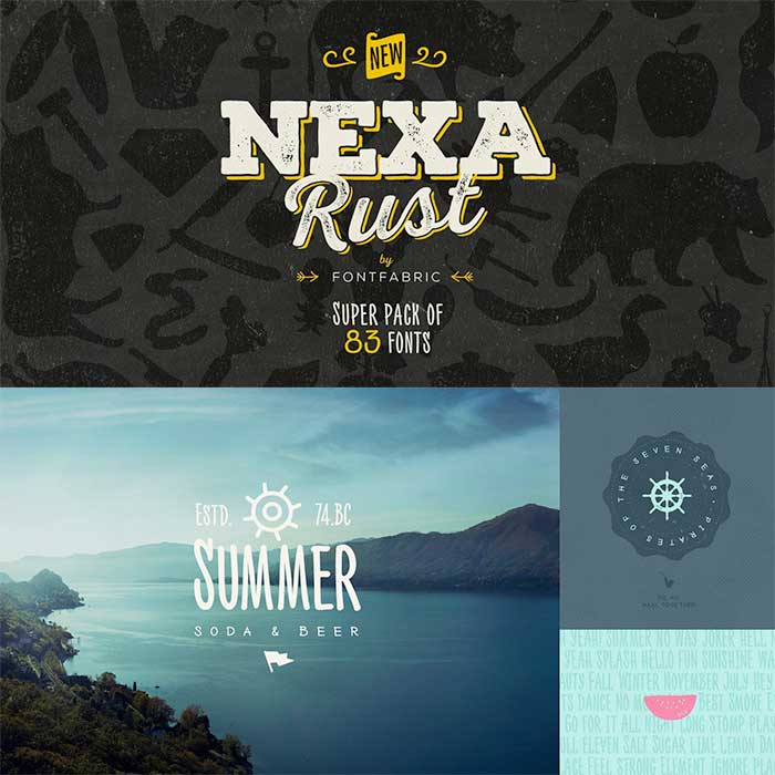 Nexa Rust by Fontfabric, a rustic, grunge, hipster font for your organic, hand-made designs and blogs. One of the font types I recommend for feminine designs in this roundup of 9 feminine font trends for 2016.