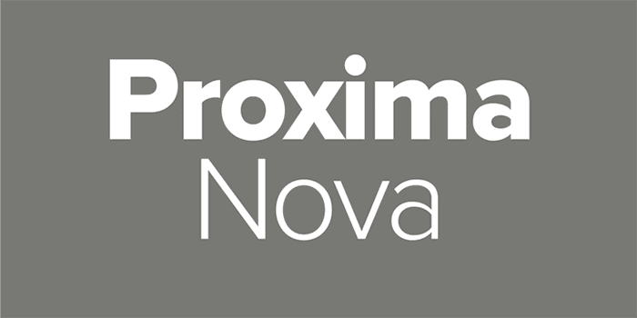 Proxima Nova by Mark Simonson, a sans serif font with thin to black weights. One of the thin rounded fonts I recommend for feminine designs in this roundup of feminine font trends for 2016.