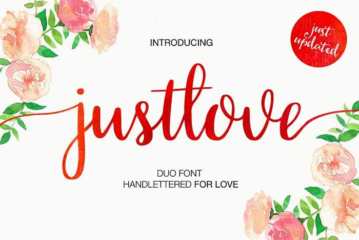 Just Love by Media Lab, a beautiful watercolor font. One of the font types I recommend for feminine designs in this roundup of 9 feminine font trends for 2016.