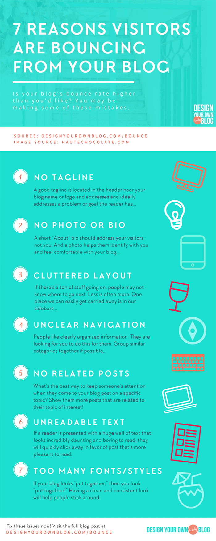 Does looking at your blog's bounce rate put you into a slight panic? Are you consistently putting out the best content you can and still seeing a high bounce rate? 7 Reasons Visitors are Bouncing from Your Blog (and how to fix it). Click through for ways to fix these issues on your blog!