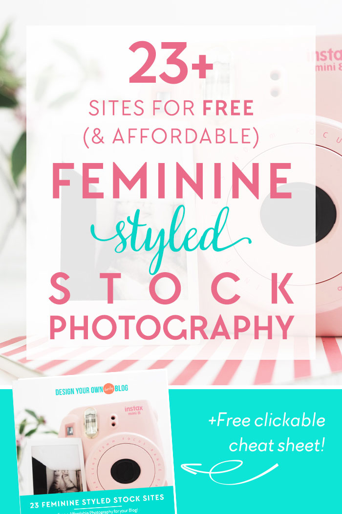 23 Sites for free (and affordable) feminine styled stock photography! See the entire list of resources PLUS download a free clickable cheat sheet you can refer to at anytime you need a flat lay photo to download at DesignYourOwnBlog.com!