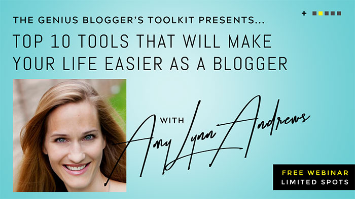 "Amy Lynn Andrews likes to make blogging as easy and painless as possible. Join her for this super helpful webinar ""10 Ways to Make Your Life Easier as a Blogger"" (awesome, right?). This webinar (Tuesday at 7pm ET) will be applicable to you, no matter where you are in your blogging journey"
