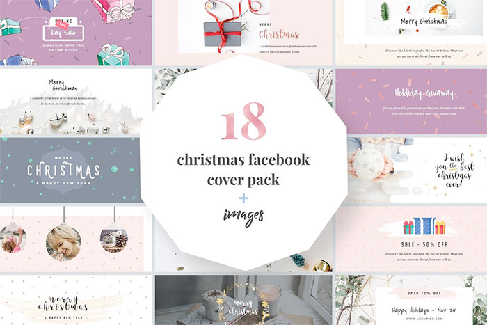 18 Christmas Facebook Cover Pack + Images.  Plus a roundup of Christmas and holiday graphics and fonts for your holiday blog posts and social media posts!