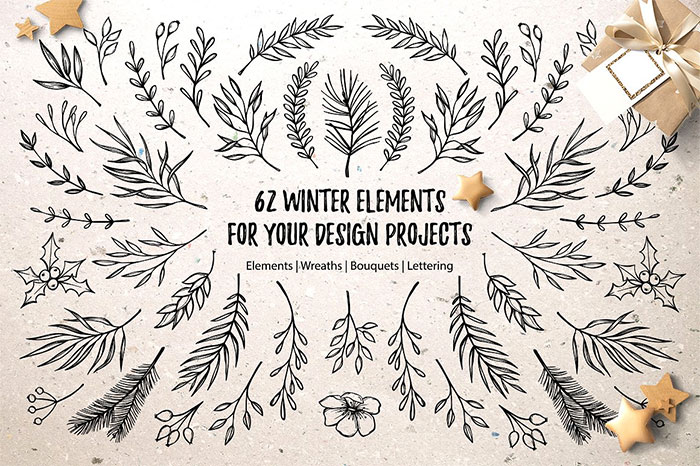 62+ Winter Graphic Elements. Christmas design elements, wreathes, branches. Merry Christmas lettering. Plus a roundup of Christmas and holiday graphics and fonts for your holiday blog posts and social media posts!