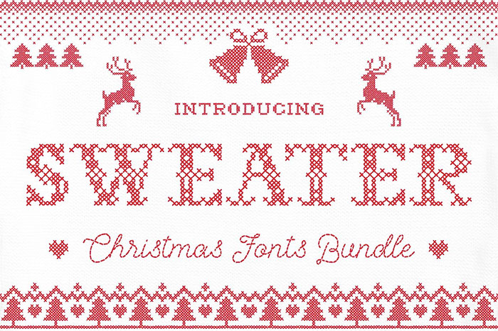 Christmas Sweater Font bundle of 3 fonts + snowy overlays and A roundup of Christmas and holiday graphics and fonts for your holiday blog posts and social media posts!