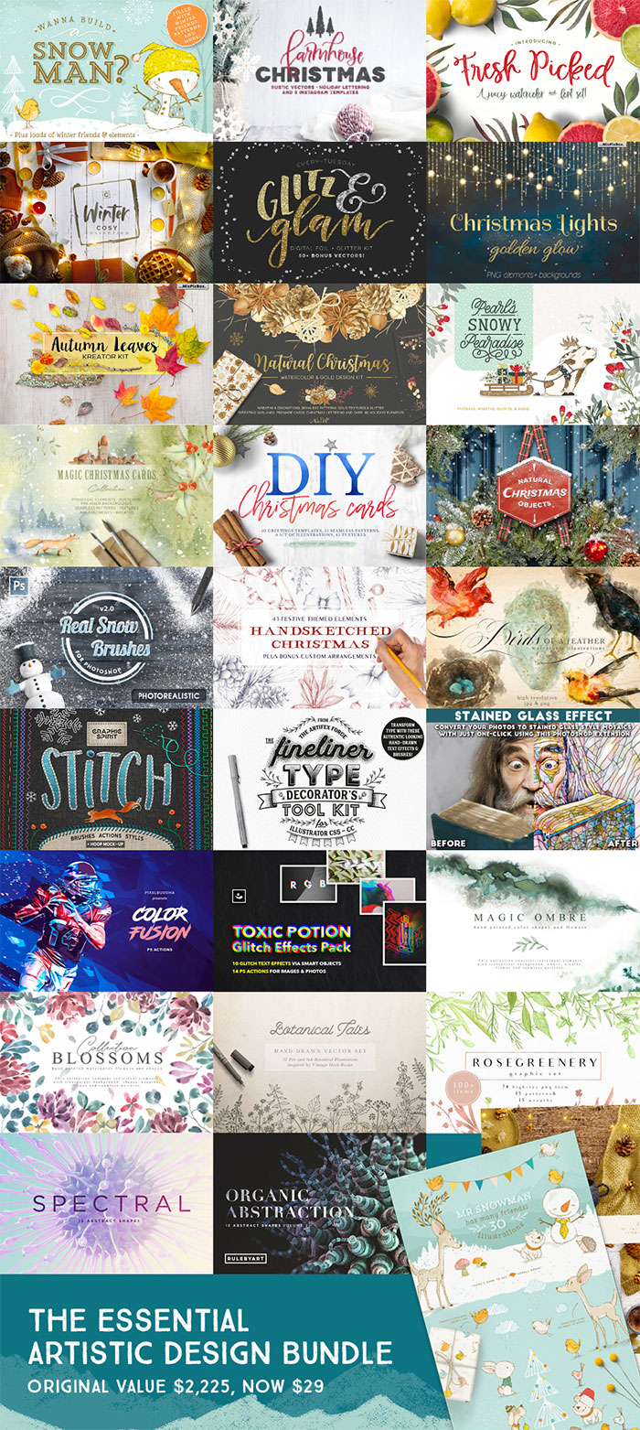 Add Magic To Your Work With These Inspiring Holiday Design Resources!  A roundup of Christmas and holiday graphics for your holiday blog posts and social media posts!