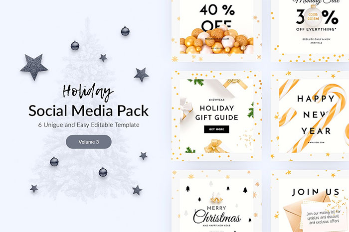 Holiday Social Media Pack. Plus a roundup of Christmas and holiday graphics and fonts for your holiday blog posts and social media posts!