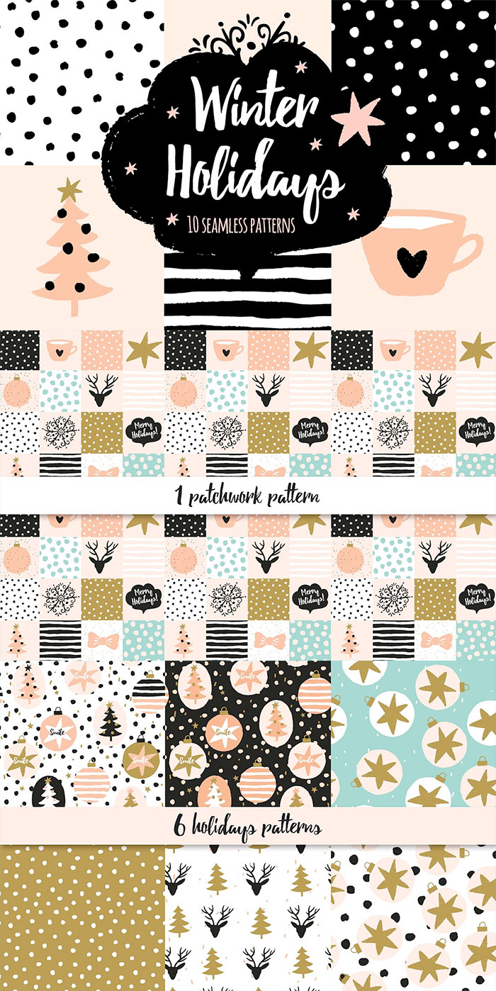 Modern hand drawn holiday patterns.  A roundup of Christmas and holiday graphics for your holiday blog posts and social media posts!