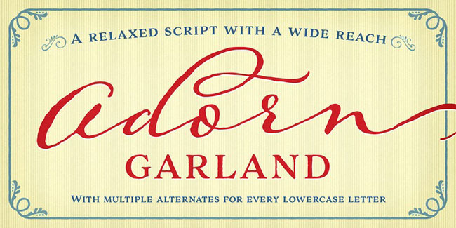 Adorn Garland, a hand-written Calligraphy font. See more at http://DesignYourOwnBlog.com