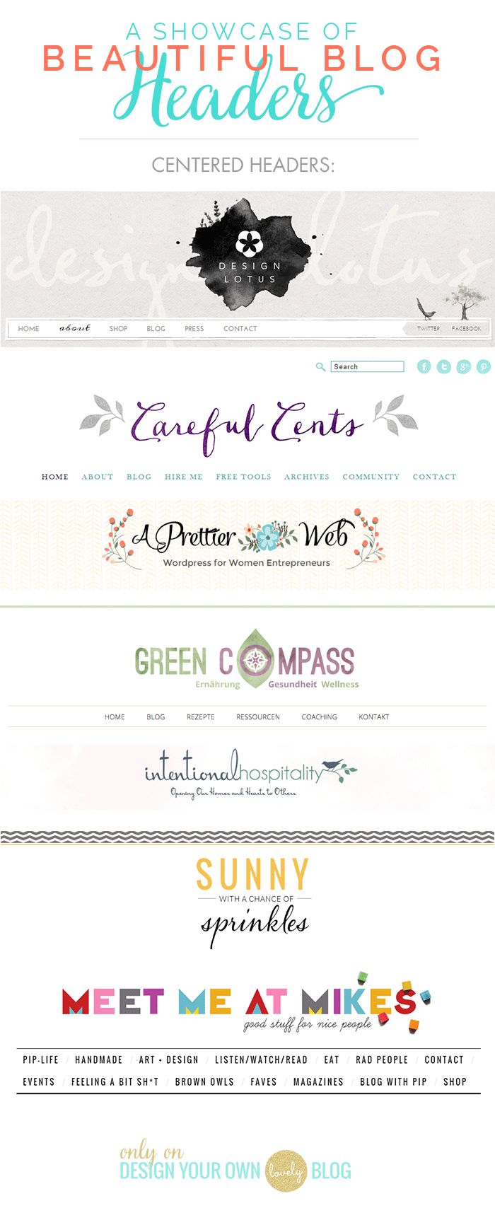 Beautiful blog headers with centered logos. See more blog header inspiration at DesignYourOwnBlog.com.