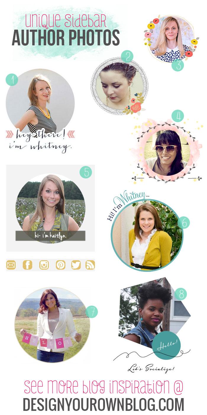 Blog sidebar author bios and photos - a showcase of pretty ones on DesignYourOwnBlog.com