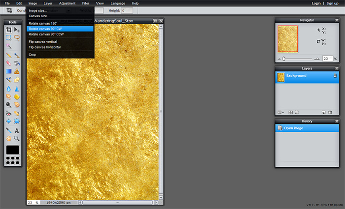 Adding gold leaf texture to your blog. You may want to rotate the image to landscape if it isn't already.
