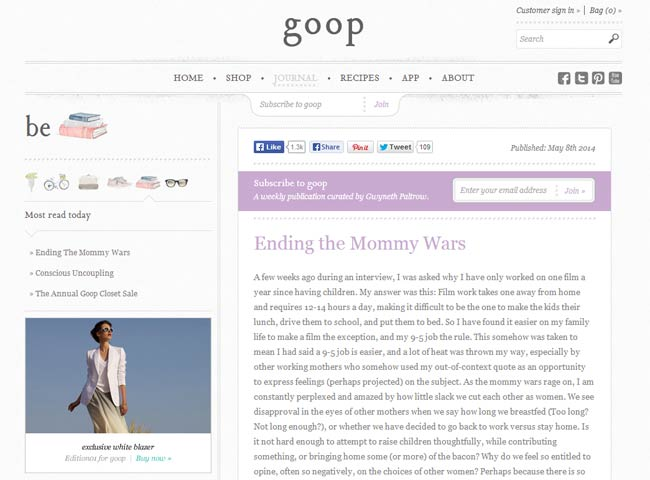 Goop.com - the light purples in Gwyneth Paltrow's blog are comforting + peaceful