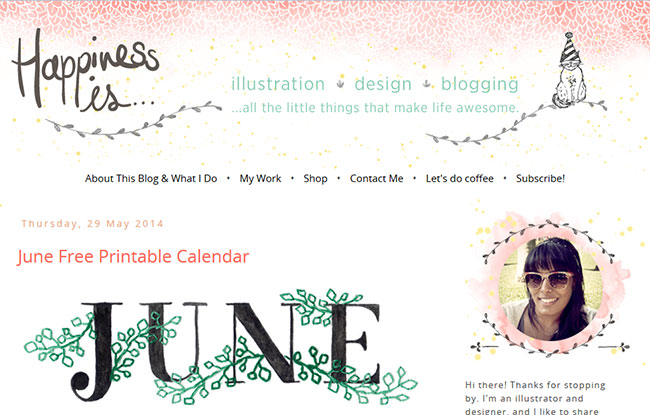 Happiness Is uses watercolor graphics for her header background as well as sweet watercolor and hand drawn laurels around her sidebar photo.