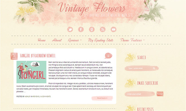 Vintage Flowers, a watercolor WordPress theme. See more watercolor themes and templates at DesignYourOwnBlog.com