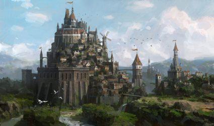 fantasy castles castle paintings medieval fortress concept digital places cool dragons artwork dragon fantasia pdf landscape artstation artist environment