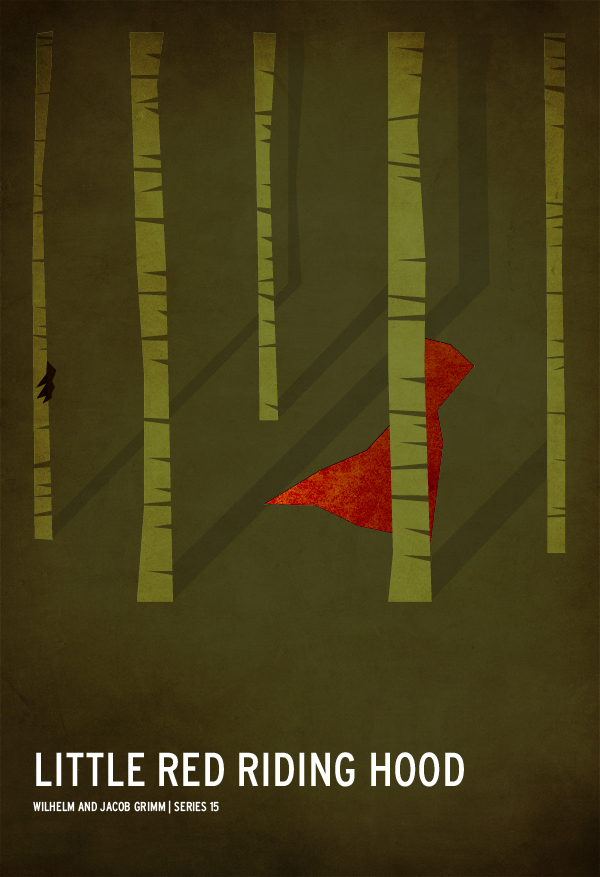 Red Riding Hood textured1 Minimalist Fairy Tale Posters