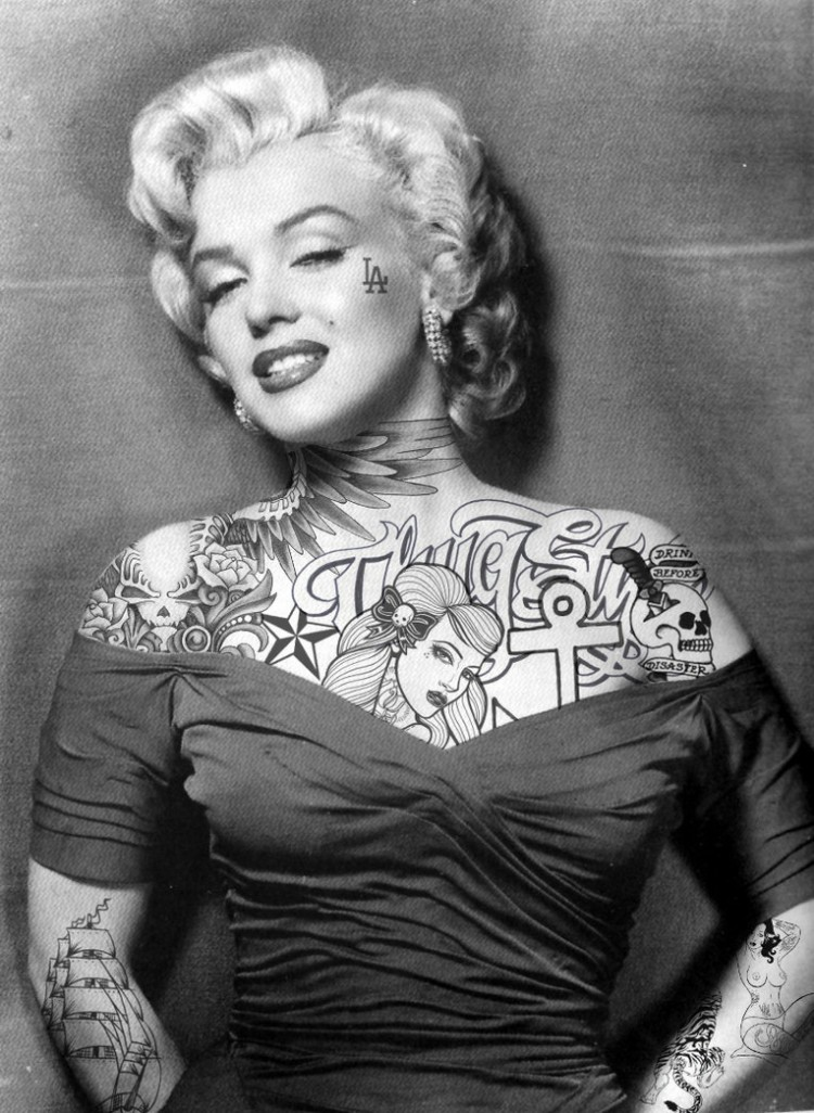 photomashup marilyn monroe by jasonrhill d3iiir9 750x1026 tattoed divas