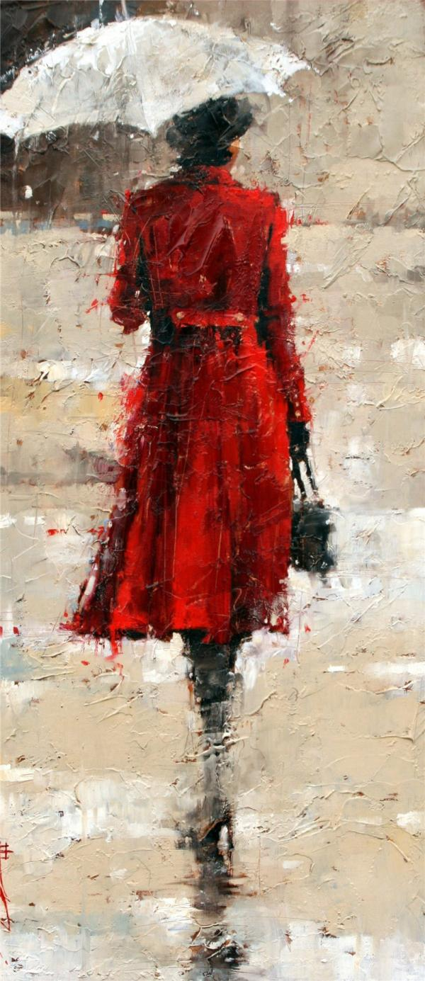 Woman with Umbrella Painting