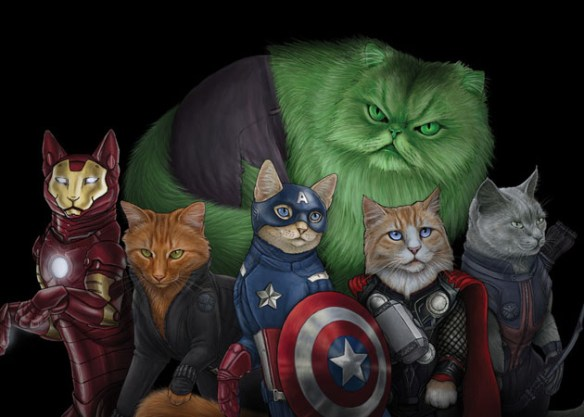 Cat Superheroes in the True Cat Form