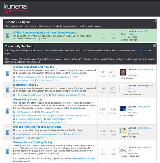 kunena joomla forum 6 Best Joomla Forum Component