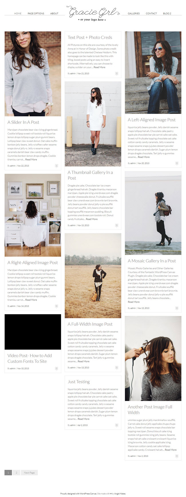 gracie screenshot1 Best Stylish & Feminine WordPress Themes for Women