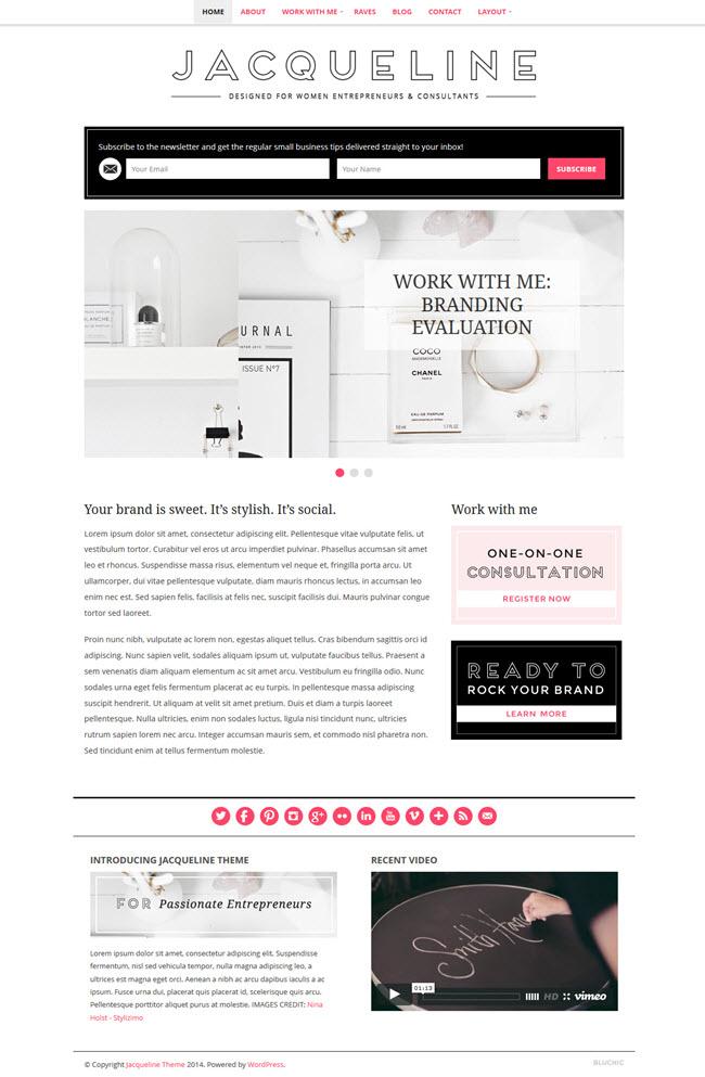 jacqueline screenshot Best Stylish & Feminine WordPress Themes for Women