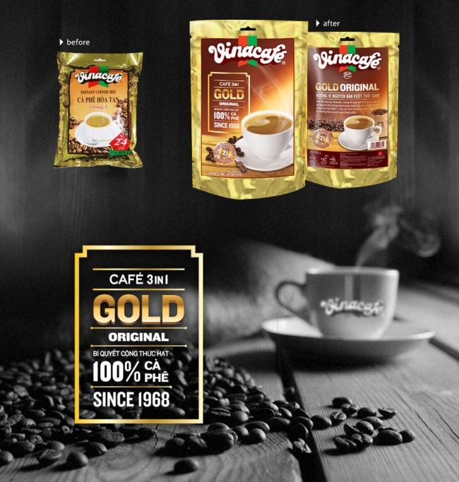 vinacafe original range evolution 650x683 VinaCafe '3 in 1 Gold' brand re positioning & packaging design