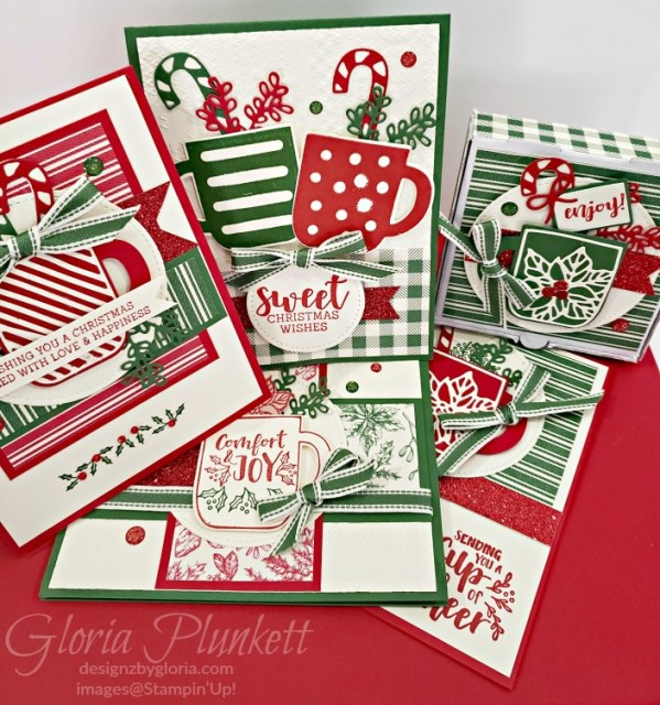 "Cup of cheer stamp set, cup of cheer dies, gold glitter enamel dots, cherry cobbler cardstock, mossy meadow cardstock, Christmastime is here specialty designer series paper, tear n tape, ¾"" circle punch, simply scored, paper trimmer, Paper Snips, Take Your Pick Tool, Stampin' Sponges, White Chalk Marker, Stitched Rectangle Dies, sip & celebrate dies, Grid Paper, stampin sponge, perfectly plaid Stamp set, truck ride dies, shimmery crystal effects, braided linen ribbon, to every season stamp set, every season punch, gold foil paper, shaded spruce cardstock, cherry cobbler cardstock, wrapped in plaid 6 x 6 designer series paper, thick whisper cardstock, silicone craft mat, grid paper, gold delicata reinker, polka dot tulle ribbon, come to gather designer series paper, splitcoaststampers, come painters, blender pens, clear wink of stella, stampin' trimmer, very vanilla cardstock, sponge daubers,  dimensionals, paper snips, multipurpose liquid glue take your pick, SNAIL adhesive, stampin' up! Demonstrator, how to, diy handmade, homemade, rubber stamping, greeting card, crafts cardmaking  to gathered ribbon combo pack, Tags & More Accessory kit, every season punch pack, bronze delicata ink pad, black stampin dimensionals, detailed trio punch, basic black cardstock, old olive classic ink,  memento tuxedo black ink, black stazon ink,    thick whisper white cardstock, whisper white cardstock,  stamparatus, aqua painters"