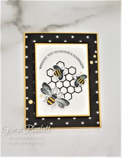 """Honey bee set, detailed bee dies, crushed curry cardstock, golden honey specialty designer series paper, gold glitter enamel dots, real red cardstock, crumb cake cardstock, tear n tape, 1"""" circle punch, simply scored, paper trimmer, Paper Snips, Take Your Pick Tool, Stampin' Sponges, White Chalk Marker, Stitched Rectangle Dies, sip & celebrate dies, Grid Paper, stampin sponge, perfectly plaid Stamp set, truck ride dies, shimmery crystal effects, braided linen ribbon, to every season stamp set, every season punch, gold foil paper, shaded spruce cardstock, cherry cobbler cardstock, wrapped in plaid 6 x 6 designer series paper, thick whisper acardstock, silicone craft mat, grid paper, gold delicata reinker, polka dot tulle ribbon, come to gather designer series paper, splitcoaststampers, come painters, blender pens, clear wink of stella, stampin' trimmer, very vanilla cardstock, sponge daubers, dimensionals, paper snips, multipurpose liquid glue take your pick, SNAIL adhesive, stampin' up! Demonstrator, how to, diy handmade, homemade, rubber stamping, greeting card, crafts cardmaking to gathered ribbon combo pack, Tags & More Accessory kit, every season punch pack, bronze delicata ink pad, black stampin dimensionals, detailed trio punch, basic black cardstock, old olive classic ink, memento tuxedo black ink, black stazon ink, thick whisper white cardstock, whisper white cardstock, stamparatus, aqua painters"""