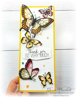 """Butterfly gala stamp set, butterfly beauty thinlits dies, slimeline, tall, apple builder punch, autumn eaves punch pack, plaid tidings designer series paper, stitched rectangle dies, ornate thanks stamp set, hammered metal 3d embossing folder, poppy moments dies, jar of flowers stamp set, layering square dies, Playful alphabet dies, gather together stamp set, pet dies, whale builder punch, playful pets designer series paper, whale of a time dsp, 3/8"""" sheer ribbon, whale of a time sequins, Gold hoop embellishments, free as a bird stamp set, magenta madness cardstock, cinnamon cider cardstock, just jade cardstock, magenta madness cardstock, jar punch, ornate garden specialty designer series paper, itty bitty greetings, pear pizzazz cardstock, seaside spray cardstock, pressed petals specialty designer series paper, botanical prints product medley, detailed band dies, ornate layers dies, Ornate style stamp set, ornate garden specialty designer series paper, ornate layers dies, grapefruit grove cardstock, gold glitter enamel dots, coastal weave 3d embossing folder, basket weave embossing folder, a wish for everything stamp set, word wishes dies, ornate layers dies, ornate floral 3d embossing folder, ornate garden ribbon, ornate garden specialty designer series paper, best dressed 6"""" x 6"""" dsp, pear pizzazz classic ink, sponge daubers, peaceful moments stamp set, subtles embossing folder, rectangle stitched dies, saddle brown stazon ink, blushing bride cardstock, from my heart faceted gems, pear pizzazz classic ink, pleased as punch designer series paper, granny apple green cardstock, basic black cardstock, gorgeous grape cardstock, rococo rose light and dark stampin' blends, granny apple green dark and light stampin' blends, watercolor pencils, blender pen, petal pink cardstock, stitched so sweetly dies, rectangle stitched framelits, 5/8"""" whisper white flax ribbon, real red rhinestones, silicone craft mat, white embossing powder, versamark ink pad, heat tool, watercolor p"""