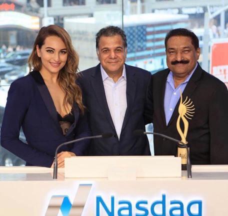 Sonakshi Sinha, Raj Nayak and Sabbas Joseph at The Nasdaq Stock Exchange Bell (1)