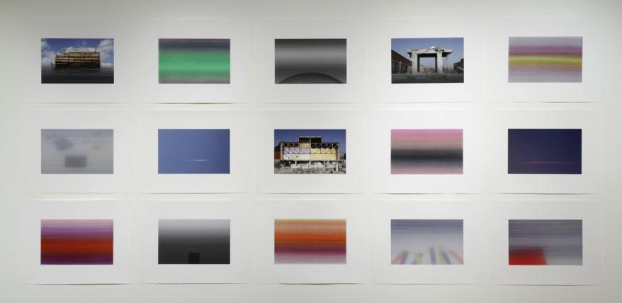 « Latences et crépuscules », 2011-2012, peinture et photographie (acrylique et impressions au jet d'encre sur papier chiffon), 15 éléments de 50 x 66 cm