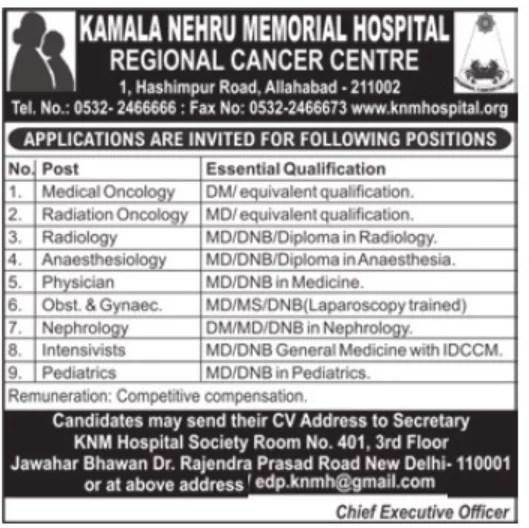 Specialist doctors at reginal Cancer center, Allahabad