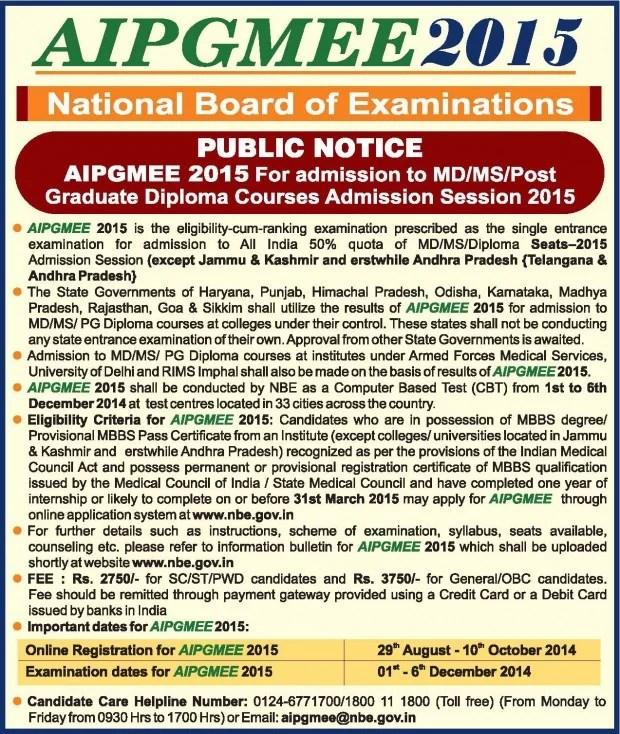 AIPGMEE 2015 Public Notice